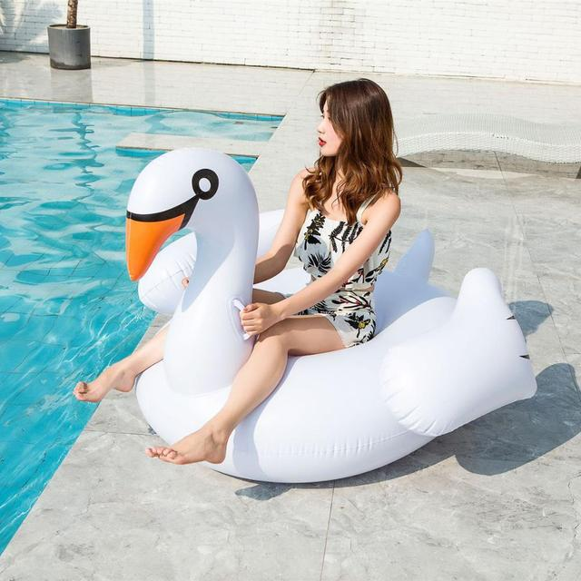 Inflatable Flamingo Swimming float Pool Float Pink Ride-On Swimming Ring Adults Children Water Holiday Party Toys Piscina 150CM 4