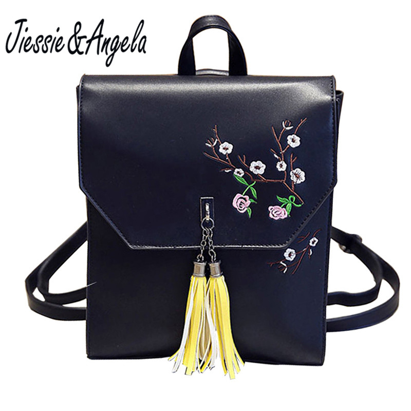 Jiessie & Angela Fashion Embroidery Women Backpack Floral Shoulder Bags Hot Tassel Backpacks School Bags Leather Travel Backpack