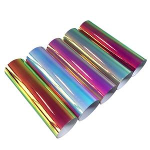Image 3 - Pegatinas holográficas de cromo para coche, revestimiento de cuerpo de coche, película de vinilo, bricolaje, decoración de automóviles, color arcoíris, 10cm x 100cm
