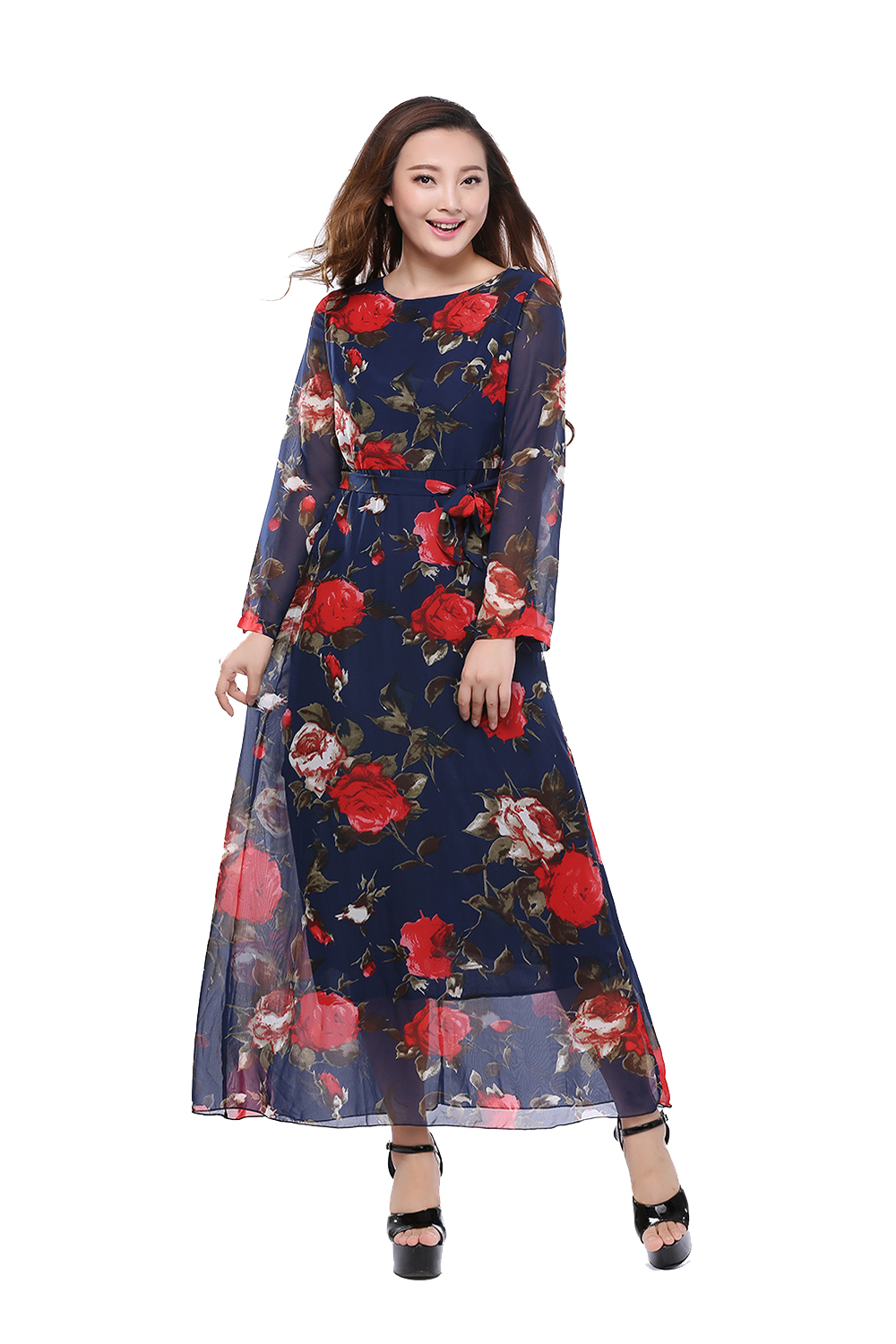 Plus Size Dresses Chiffion Maxi Print Ankle Length Printed ...