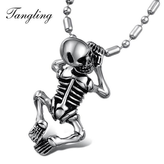 Classic Necklaces human body Skull frame Men Jewelry Stainless Steel ...