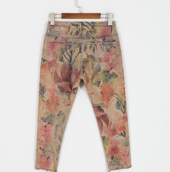 Las Longitud Del Pantalones Pintado Moda De Denim La Primavera Verano Cruz Lentejuelas Y Mujeres Color Tobillo Mujer Cordón Vaqueros Elástico qxT7Btxn4w