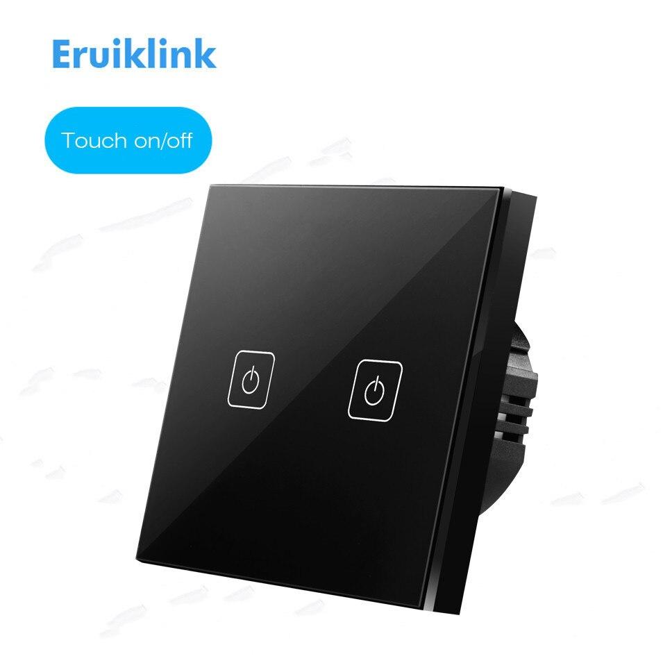 EU/UK Standard Eruiklink Touch Switch 1 Gang/2 Gang/3 Gang 1 Way, Single Fireline Wall Light Switch,Black Crystal Tempered Glass