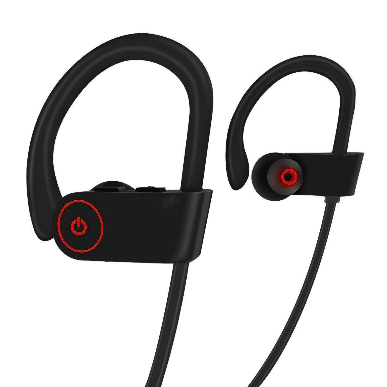 Top Deals Bluetooth Wireless Headphones w/Mic, HD Stereo/IPX7 Waterproof/Secure Fit In-Ear Wireless Bluetooth Earbuds for Men