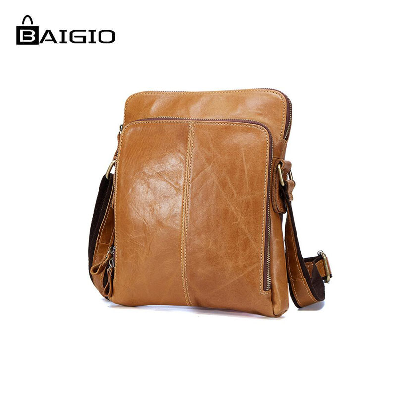 b479cd1ad2 Baigio Men s Shoulder Bags Brown Crazy Horse Designer New Wild Style Leather  Casual Business Briefcase Crossbody Messenger Bags-in Crossbody Bags from  ...