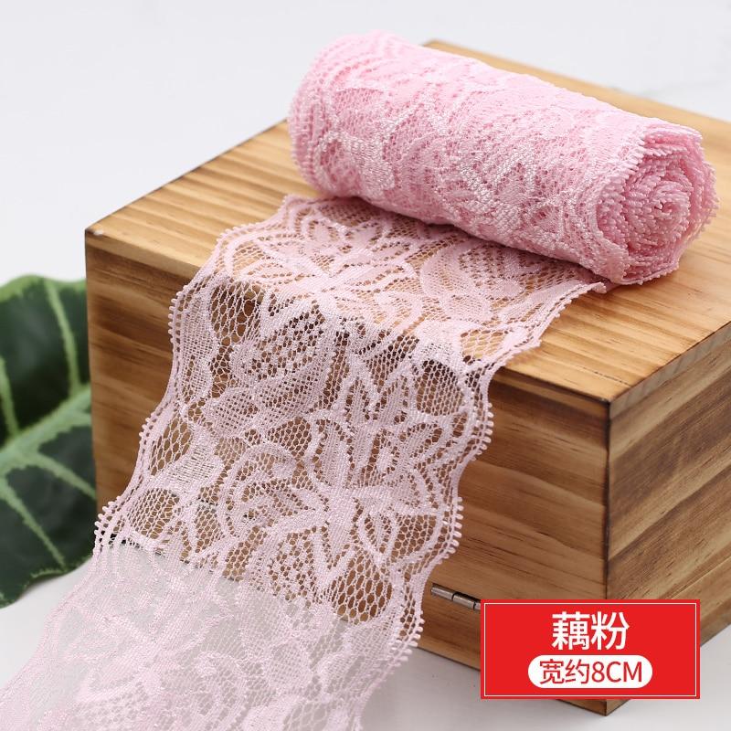 HTB1MlqWbvjsK1Rjy1Xaq6zispXaH 8cm Spandex Lace Elastic Crafts Sewing Ribbon White Black Stretch Lace Trimming Fabric Knitting Material DIY Garment Accessories