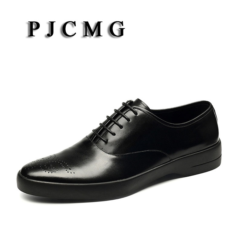 PJCMG New Breathable Mens Business Lace-Up Black/Red/Brown Pointed Toe Formal Dress Genuine Leather Wedding Oxfords Office Shoes high quality carved black red mens dress oxfords lace up pointed toe genuine leather wedding mens business for work shoes