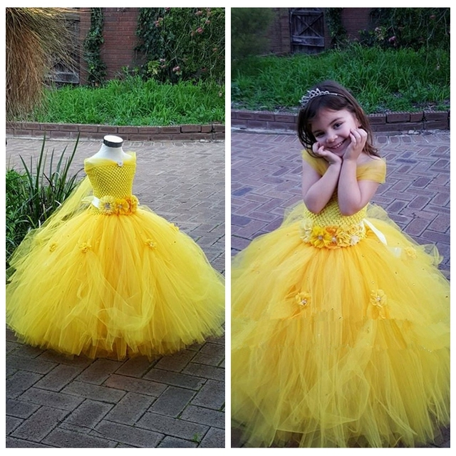Yellow Dress Flower Dresses For Wedding Kids Children Ball Gown Party