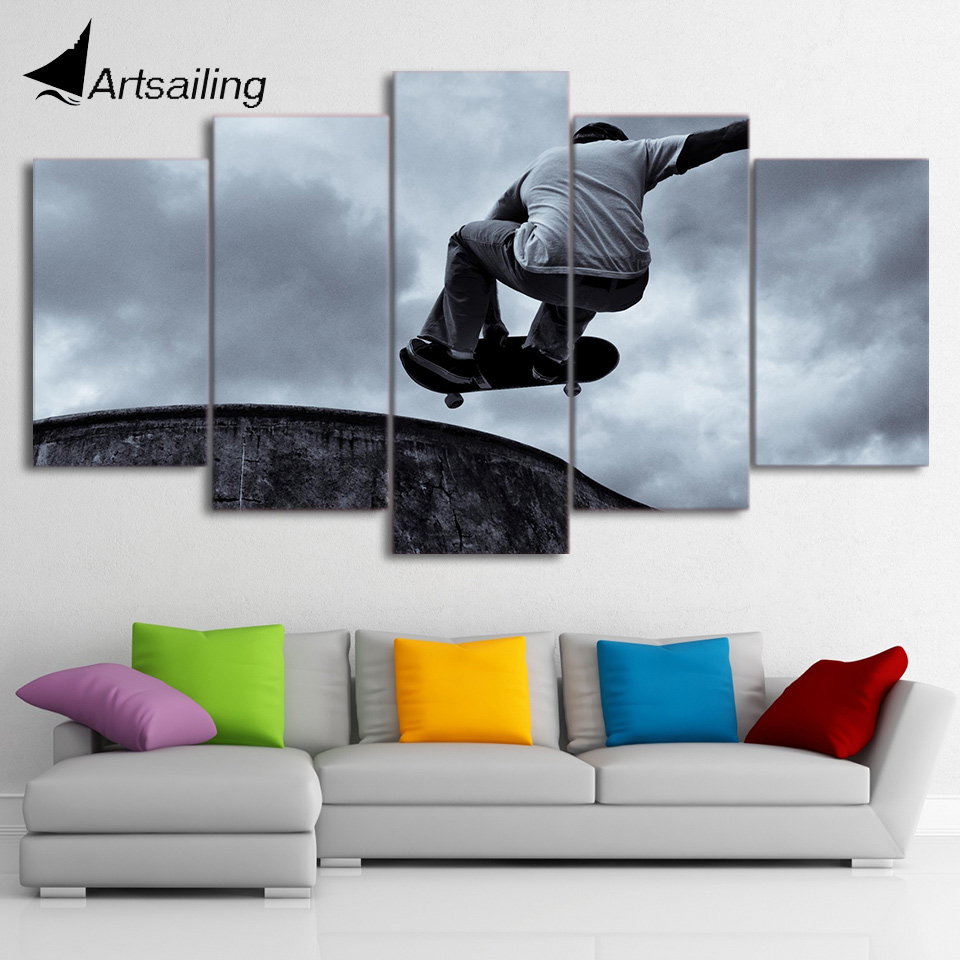 5 Piece Canvas Art HD Printed Vintage Skateboard Painting Black Classical Wall Pictures for Living Room Free Shipping CU-1889A no frame canvas