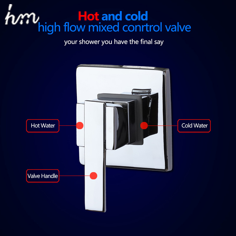 hm Bath & Shower Faucets Control Brass Mixing Valve Switch Concealed Shower Valve Mixer Hotel Faucet Mixing Wall Shower Switch