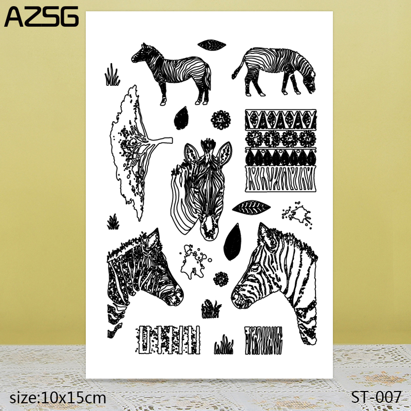 AZSG Realistic Zebra Tree Leaves Clear Stamps/Seals For DIY Scrapbooking/Card Making/Album Decorative Silicone Stamp Crafts