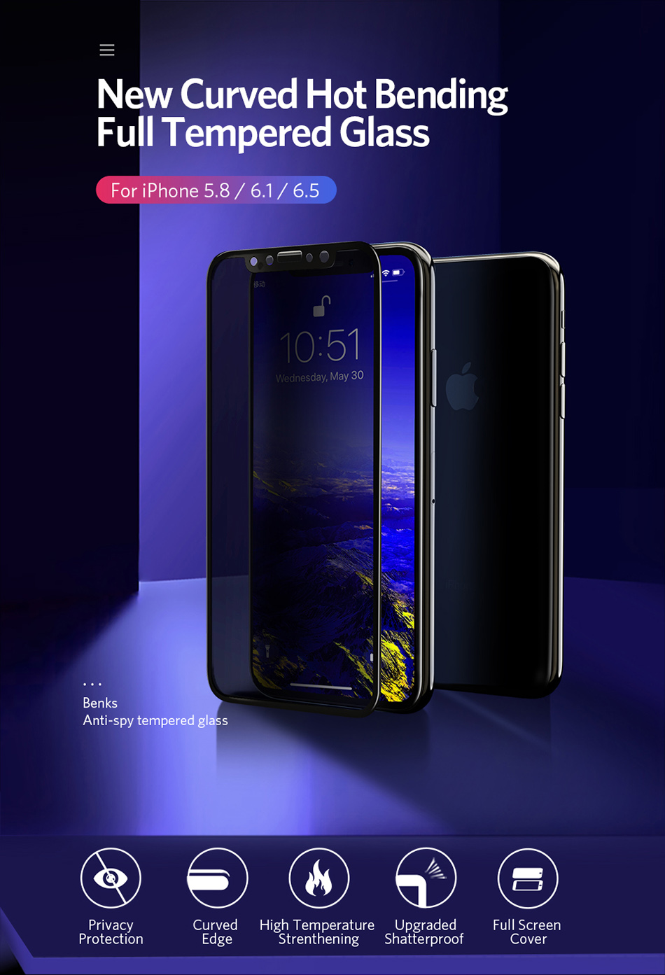 Benks Anti Spy Tempered Glass For iPhone XS 5.8`` XS MAX 6.5`` Full Protection Cover For XR 6.1 Screen Protector Anti Glare Front Film (1)
