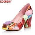 Egonery zapatos 2017 verano señoras de la manera bombas de las mujeres zapatos de tacón alto oficina bombas de mujer zapatos de punta abierta más el tamaño de la danza del partido zapatos