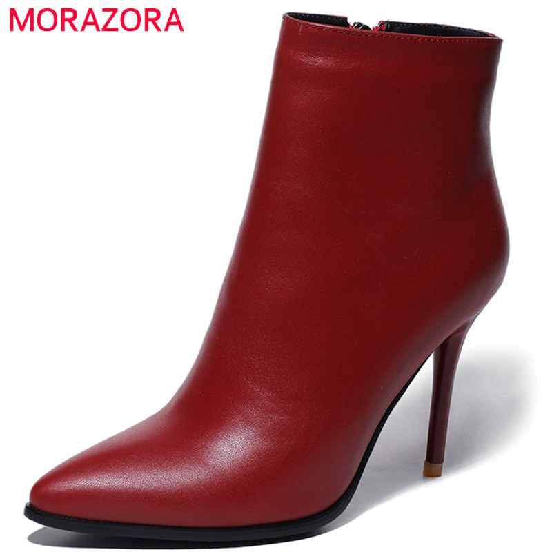 MORAZORA Cow leather shoes woman top quality womens boots fashion sexy lady ankle boots thin heels shoes party zipper morazora ankle boots for women fashion shoes woman cow suede leather boots solid zipper platform womens boots size 34 40
