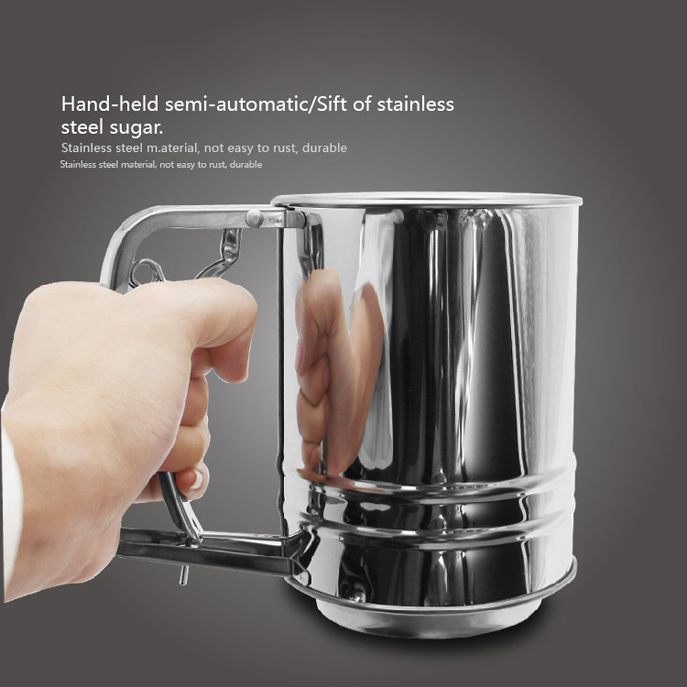 1*Flour Sifter Medium Double Layer Flour Sifters Semi-automatic Hand-held Cake Baking Tool