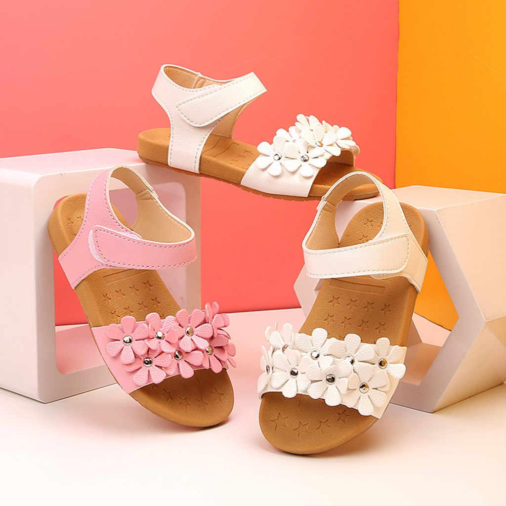 2019 детские сандалии для маленьких девочек сандалии с цветочной подошвой детская обувь для принцессы сандалии пляжные сандалии filles # A35