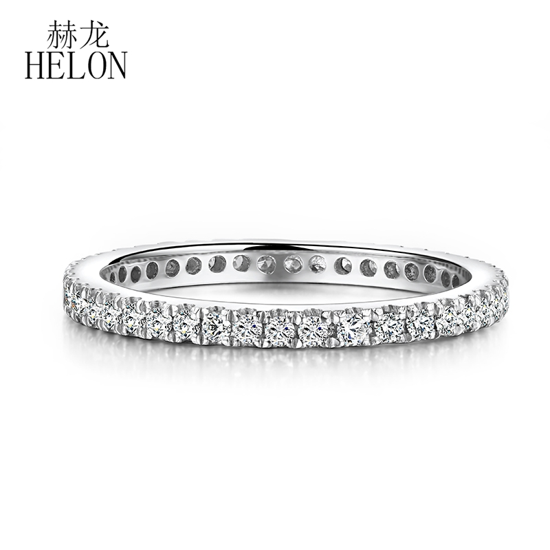 HELON Solid 14K White Gold 1.5mm Wide band Pave Natural Diamonds 0.33CT Engagement Wedding Ring Artistical Women Fine JewelryHELON Solid 14K White Gold 1.5mm Wide band Pave Natural Diamonds 0.33CT Engagement Wedding Ring Artistical Women Fine Jewelry