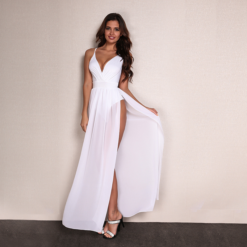 HTB1MlrERXXXXXbTXFXXq6xXFXXXl - Feditch Chiffon Beach Dress Hot Sale Boho Maxi Dress Sleeveless V Neck White Party Desses Bodycon Women Sundress Vestido