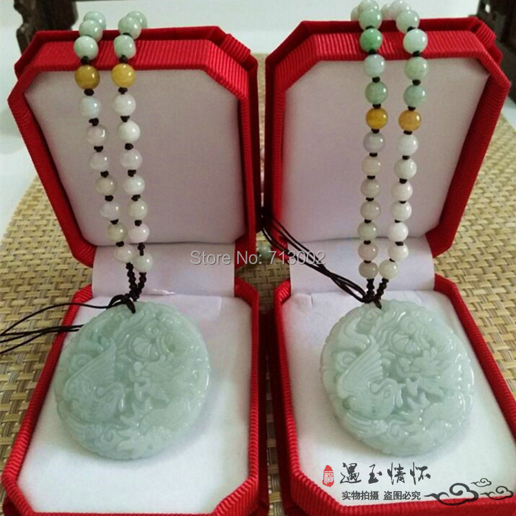 Becautiful Hand Carven jadeite Amulet Lucky Pendant With Jade Bead Necklace Dragon And Phoenix