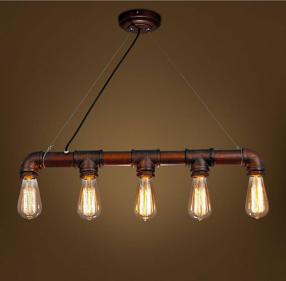 Inspirable style with pedant chandelier lamps and antique furniture - 2017 New Simple Modern Water Pipe Industrial Vintage Style Black Pendant Lamp Edison Bulbs Pendant Light