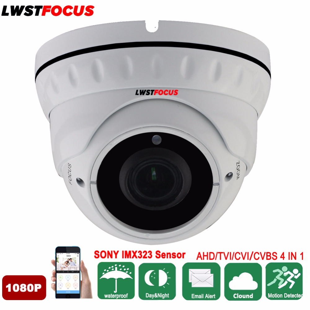 Sony IMX323 Metal 1080P AHD Outdoor Dome Camera 2.8~12mm Manual Zoom Varifocal Lens CCTV IR Cut Filter Camera 2.0MP Waterproof ahd camera 2 0mp metal dome cameras 2 8 12mm lens camera waterproof night vision ir cut filter 1 3 surveillance 1080 cy ahd1313f