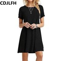 CDJLFH 2017 New Fashion Ladies Casual Women Plus Size Short Sleeve Slim Dress Bodycon Female Black Dresses Autumn Party Dress