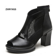 New Cowhide mesh women summer sandals ankle boots 2019 famous Fish head sexy wom