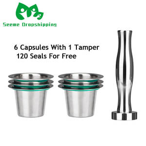 7PCSSet  Stainless Steel Nespresso Reusable Coffee Capsule Coffee Tamper Refillable Cup Filter Nespresso Machines Maker Pod