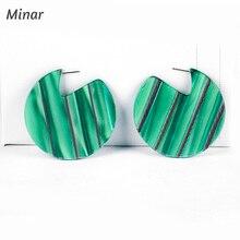 Green Abalone Shell Big Circle Hoop Earrings Acrylic for Women Girls Statement Geometric Striped Fashion