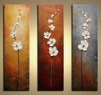 Pintado a mano flores bailando pétalos moderna pintura del cuchillo pintura al óleo floral de la pared cuadros para la Sala 3 unidades