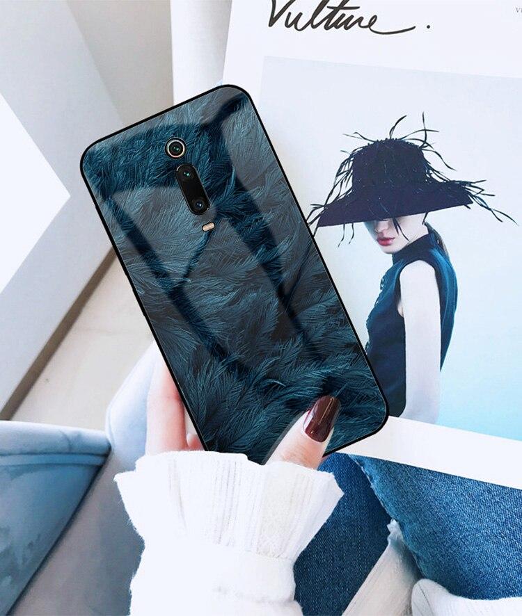 HTB1MlriXkT2gK0jSZFkq6AIQFXaa GFAITH For Xiaomi Mi 9T Case Tempered Glass Feather Print Cover With Starry Sky Design For Xiaomi Mi9T Pro Phone Case Mi 9 SE 87