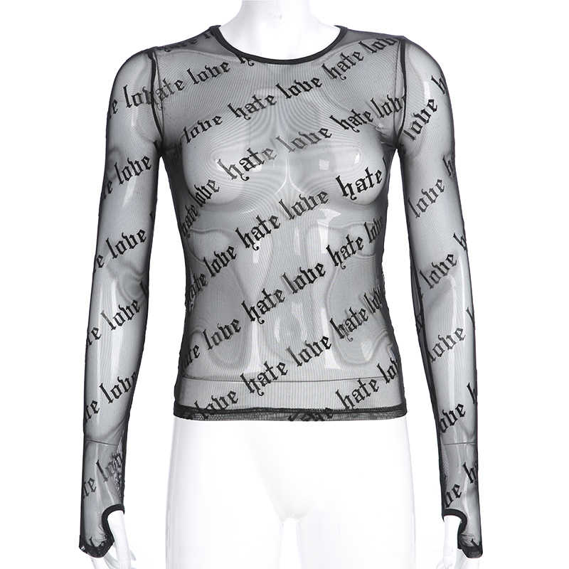Darlingaga горячая распродажа Прозрачный черный сетчатый топ футболка с длинным рукавом Эластичный Модный укороченный Топ Футболка с буквенным принтом летние футболки 2019