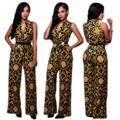 Macacões elegantes Preto Com Decote Em V Sem Mangas Plus Size Macacões Para As Mulheres Macacão Macacão Desgaste Do Clube