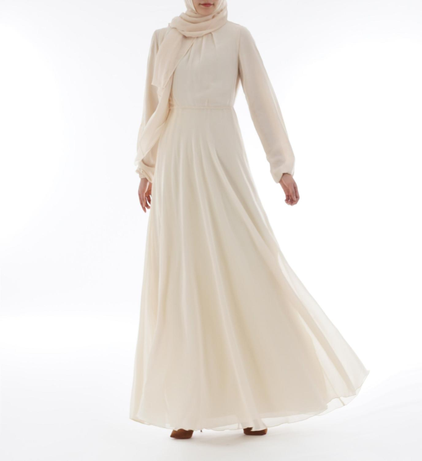 High-end chiffon Muslim dress summer long sleeve dress Muslim dress robe summer