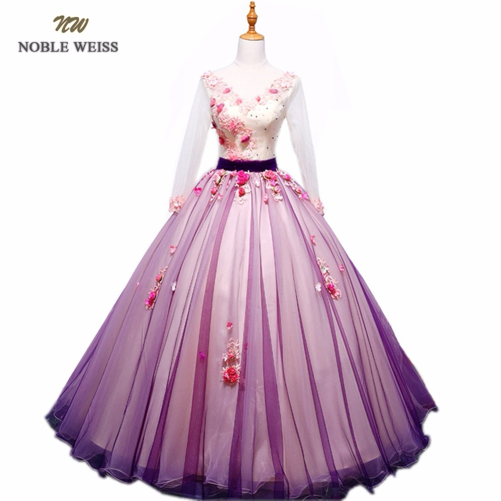NOBLE WEISS Colorful Quinceanera Dresses Ball Gown Appliques Beading Flower Floor Length Organza Sexy Prom Dress