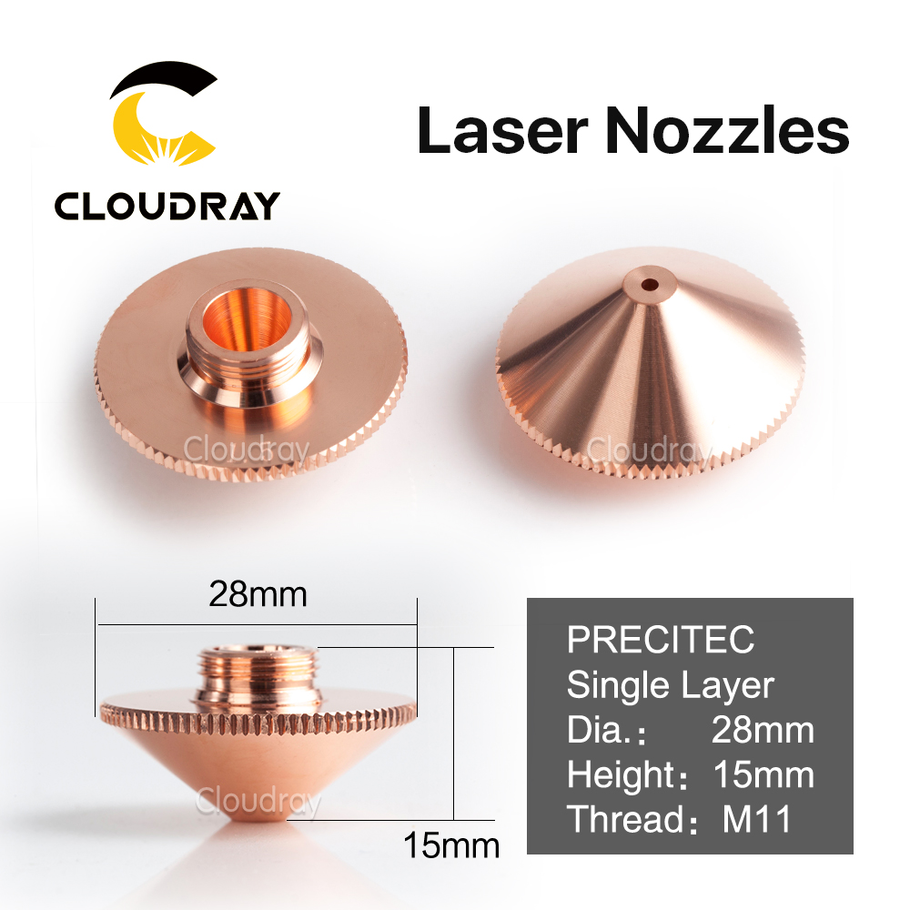 Cloudray Laser Nozzle Single Layer Dia.28mm Caliber 0.8 - 4.0 OEM Precitec P0591-571-0001 for Precitec FIBER Laser Cutting Head lskcsh same quality as original precitec ceramic nozzle holder kt b2 con p0571 1051 00001 for precitec fiber laser cutting head