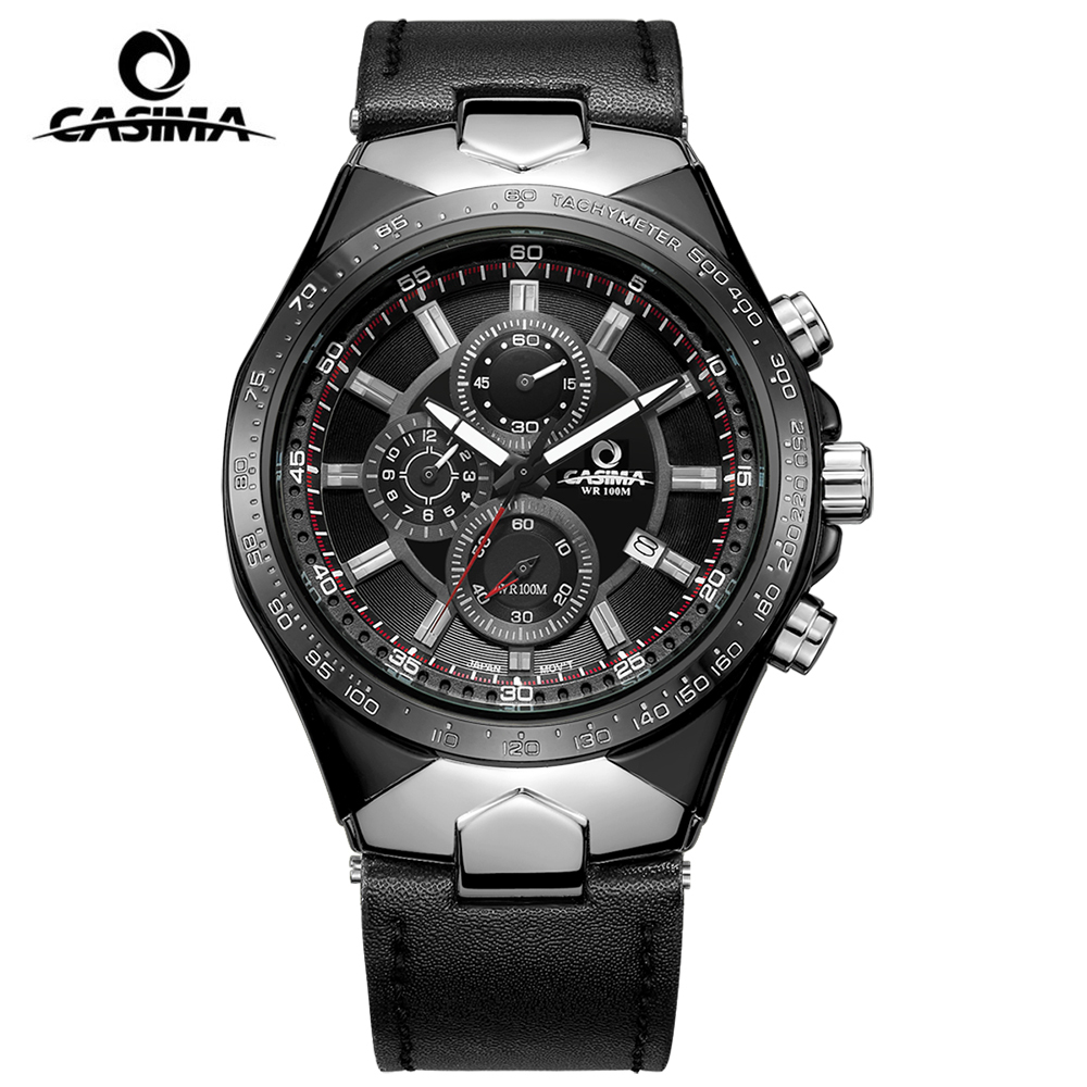 CASIMA Fashion Multifunction Quartz Sports Wrist Watch Casual Genuine Leather Luxury Brand Watches Men Luminous Chronograph Sale