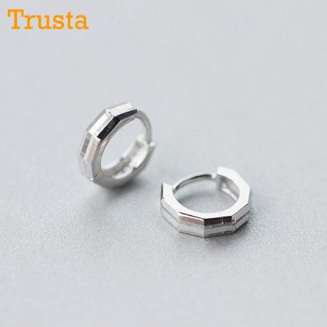 Trusta 100 925 Sterling Silver Hoop Geometric Ear Cuff Clip On Earrings For Women