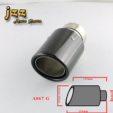 """63mm""""  glass Carbon Fiber akrapovic car Exhaust Muffler Tip Automobile carbon Exhaust tip Pipe Tail for Audi a6"""