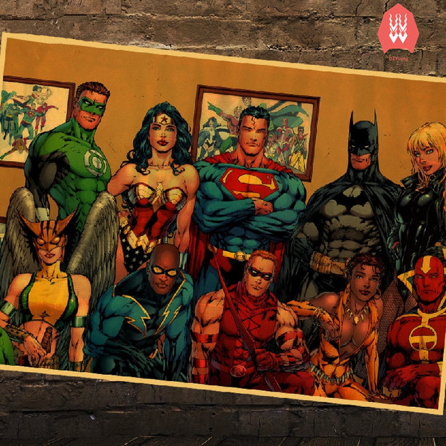 b72846bceb wall stickers home decor Justice League vintage retro poster Batman Superman  Wonder Woman The Flash Green Lantern anime posters