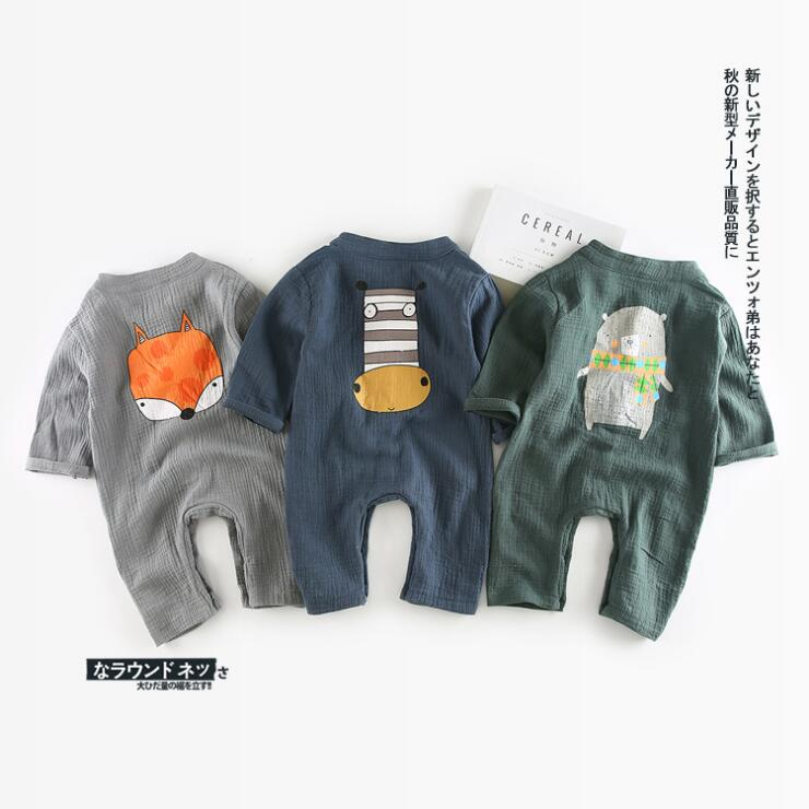 Newborn boys girls rompers baby spring summer autumn cartoon printed romper kids grey blue green cotton onesie clothes 6-36 M warm thicken baby rompers long sleeve organic cotton autumn