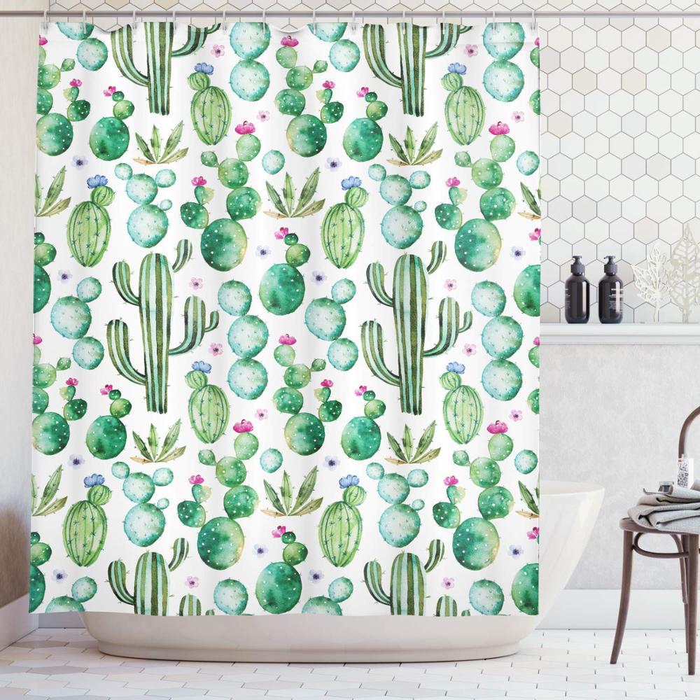 Cartoon Shower Curtain Mexican Cactus Plants Print For Bathroom Bathroom Supplies Accessories Garden Curtains
