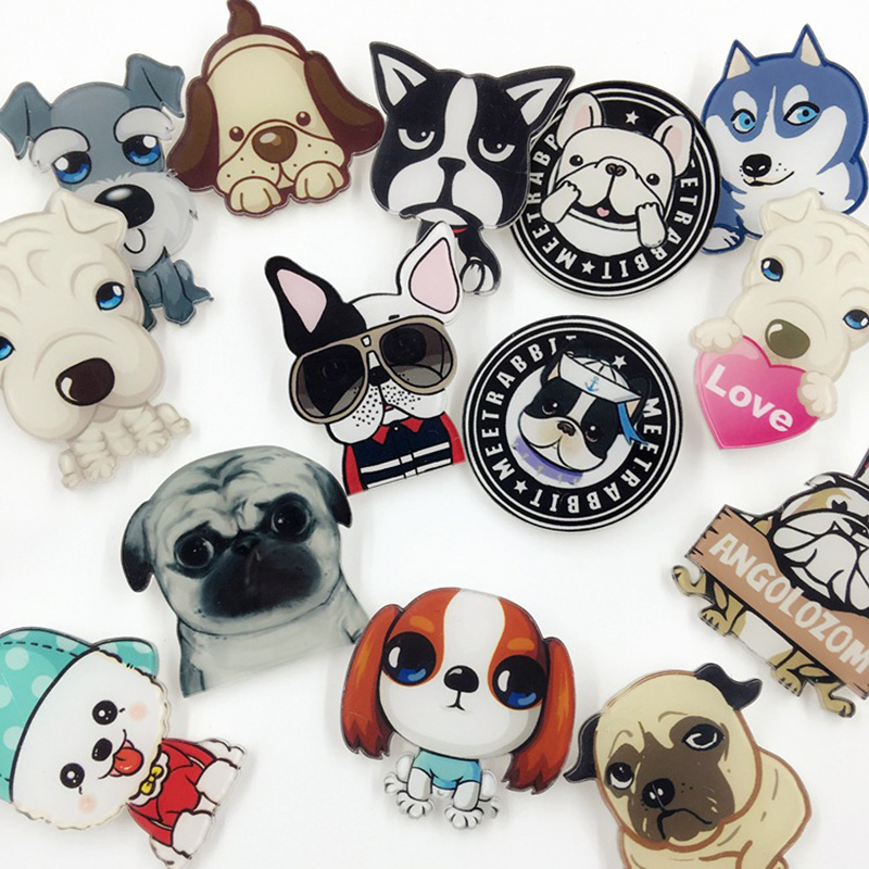 10 pieces/lot Dog Brooch Pins Acrylic Brooches Women Men Love Badges Hijab Pin Cartoon Animal Jewelry Accessories For Clothes