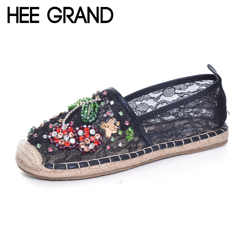 HEE GRAND Rhinestones Loafers 2017 Glitters Mesh Fisherman Shoes Woman Straw Slip On Casual Flats Platform Women Shoes XWD6006 hee grand camouflage creepers 2017 lace up platform shoes woman wedges loafers slip on flats casual fahsion woman shoes xwd6038