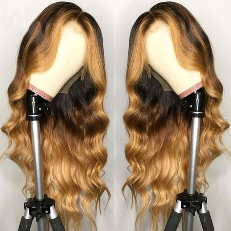 SimBeauty Lace Front Human Hair Wig Wavy Ombre Blonde Highlights Color Peruvian Remy Hair Middle Part Pre Plucked With Baby Hair