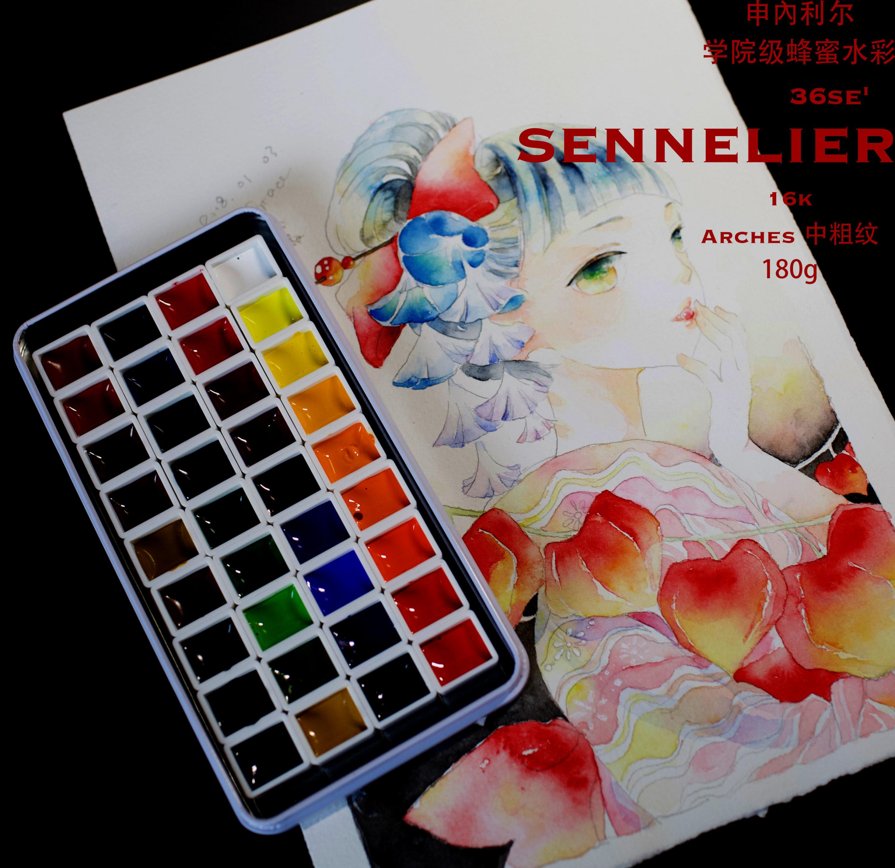 France Sennelier Student Class Watercolor Pigment Academy 36 Colors Dispensing Sub Package Solid Watercolor Aquarela