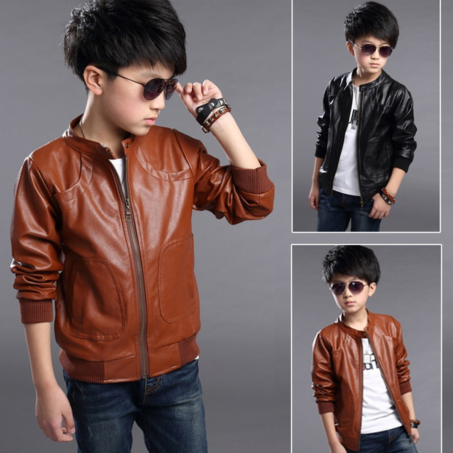 Children PU Leather Jacket Boy's Trendy Stand Collar PU Leather Moto Jacket Leather Coat Kids Winter Warm Leather Jacket 3-10T rose print voile splicing stand collar zip up jacket
