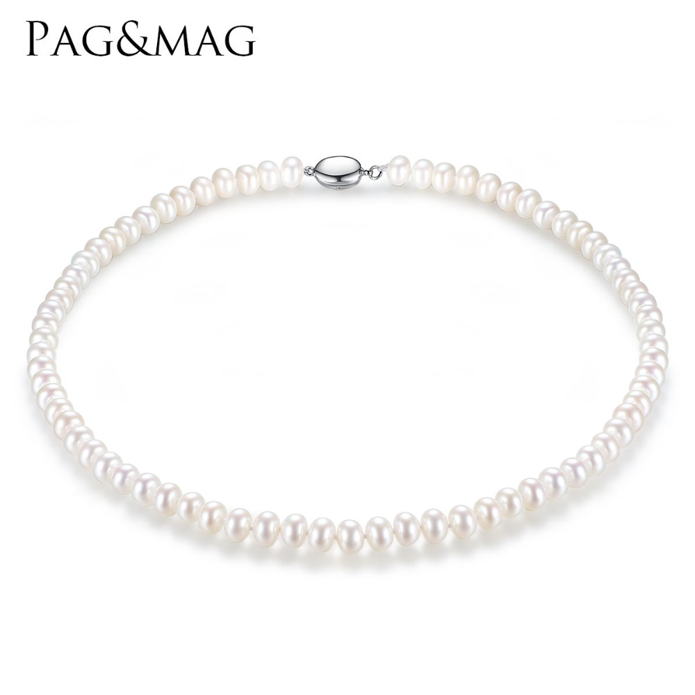 PAG&MAG Brand 7-8mm Natural Freshwater Pearl Necklace Single Necklace for Women High Brightness Pearl Beaded Chocker Wholesale pearl beaded flounce skirt