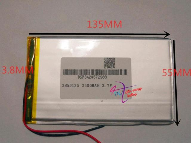 Size 3855135 3.7V 3400mah Lithium Tablet polymer battery with Protection Board For PDA Tablet PCs Digital Products