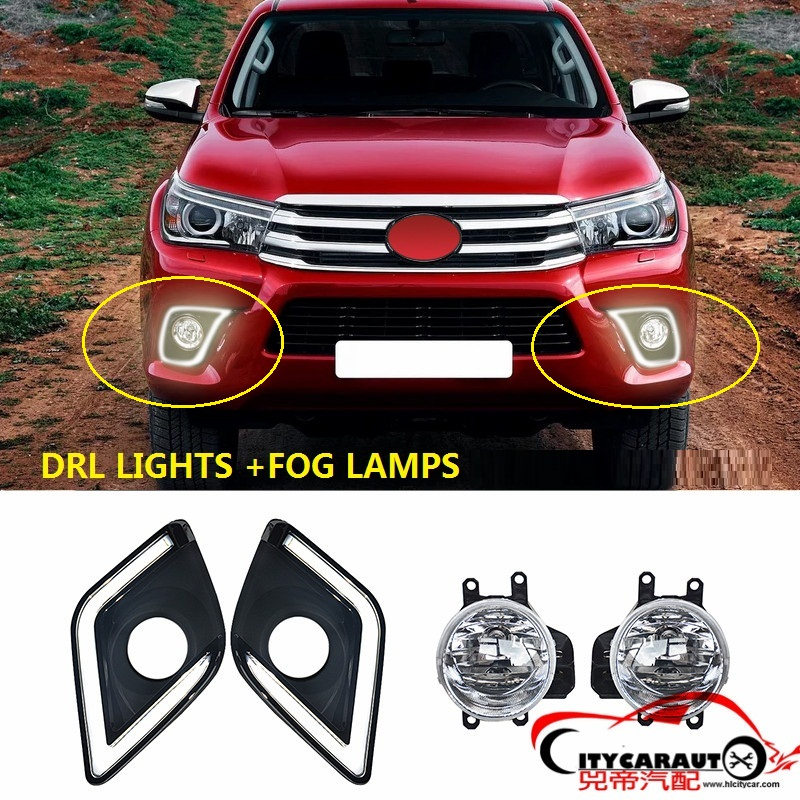 CITYCARAUTO LED DRL LIGHTS DAY LIGHTS WITH YELLOW TURNING SIGNAL FEATURES+FOG LAMPS WITH SWITCH FIT FOR HILUX REVO PICKUP CAR citycarauto styling mouldings auto original fender flare accessories fit for hilux vigo revo 2015 2017 car